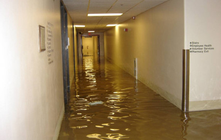 Lourdes interior flood waters