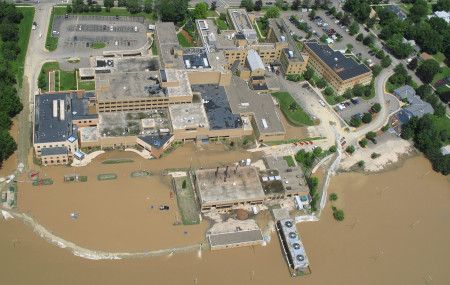 OLOL exterior floodwaters