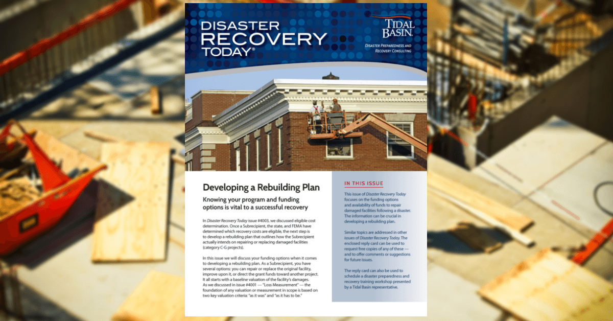 "Updated Issue of Disaster Recovery Today's ""Developing a Rebuilding Plan"" Released! Thumbnail Image"